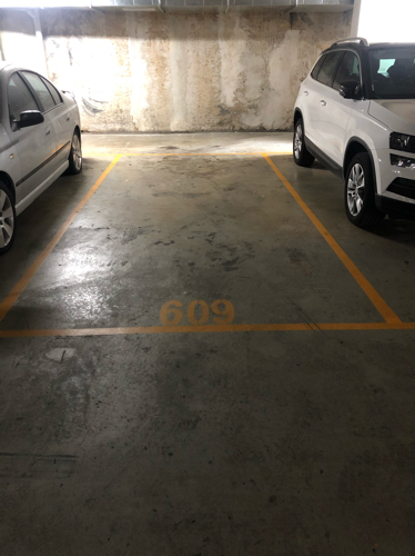 Large secure underground parking space.