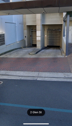 Underground secure parking, close to ferry, train and bus stations at Milsons Point