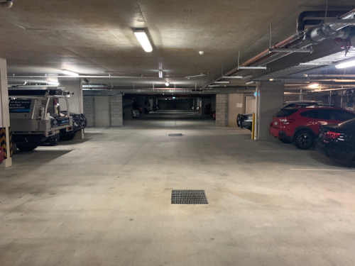 Underground, secure car park only eight hundred metres from the city.